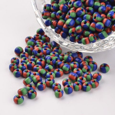 Seed Beads - 6/0 - Red/Blue/Green Opaque - 50g